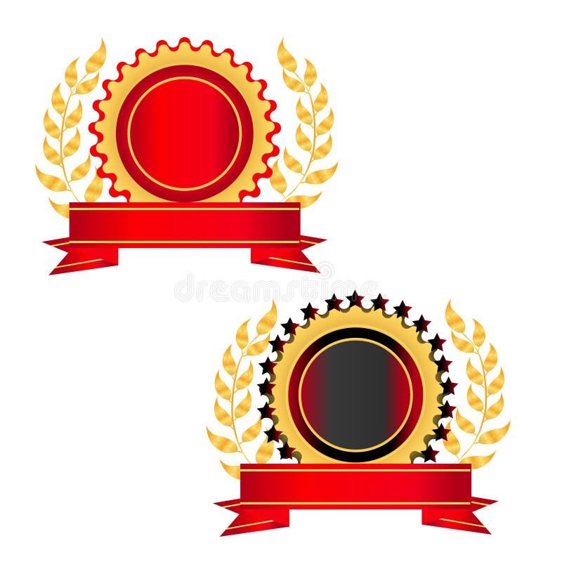 Ouro e selo vermelho com uma fita ilustração do vetor