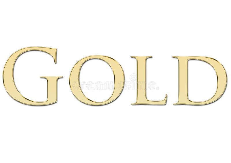 Ouro escrito em letras douradas ilustração do vetor
