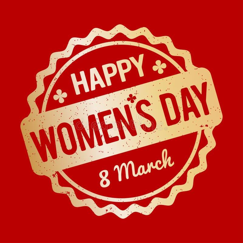 Ouro feliz do carimbo de borracha do dia do ` s das mulheres em um fundo vermelho ilustração royalty free