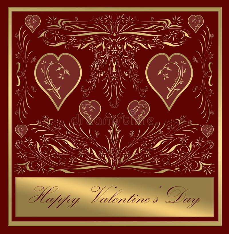 Ouro feliz do cartão do dia dos Valentim ilustração do vetor