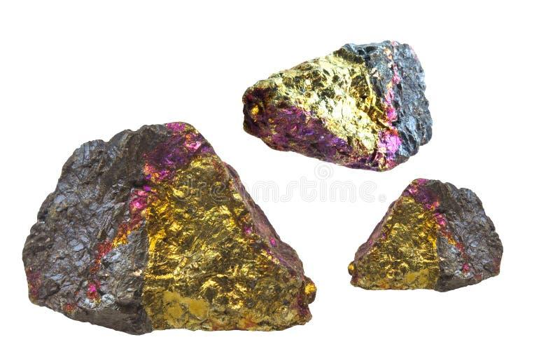 Ouro, Fuschia, rochas pretas da pirite foto de stock
