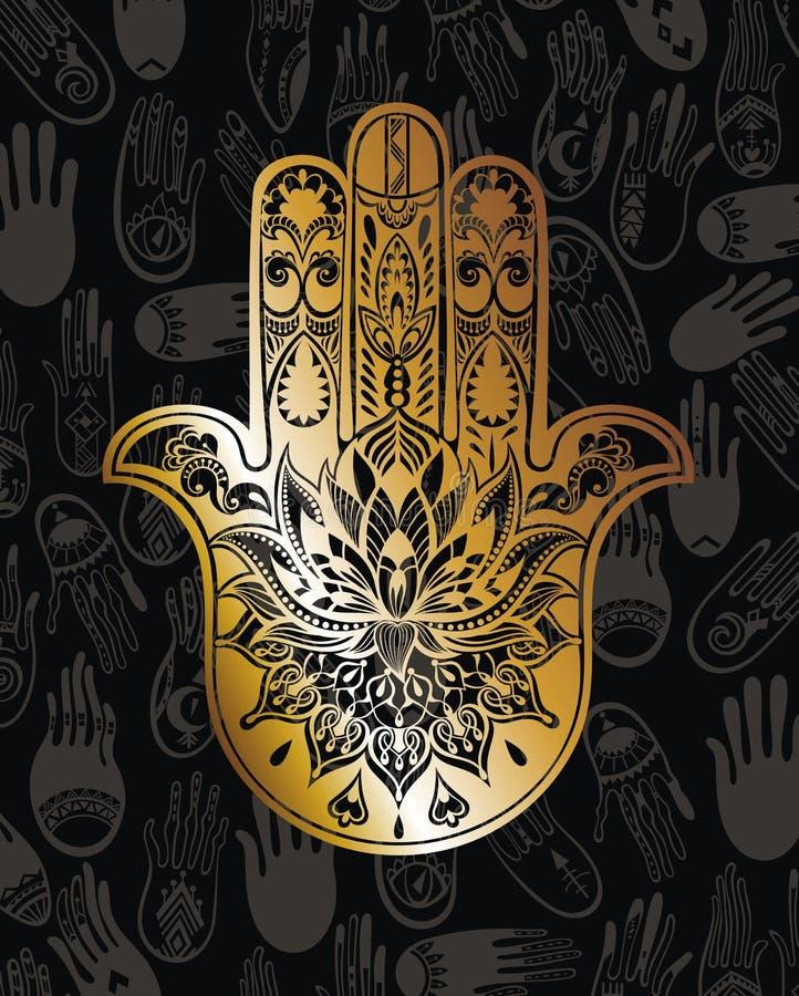 Ouro Hamsa ilustração stock