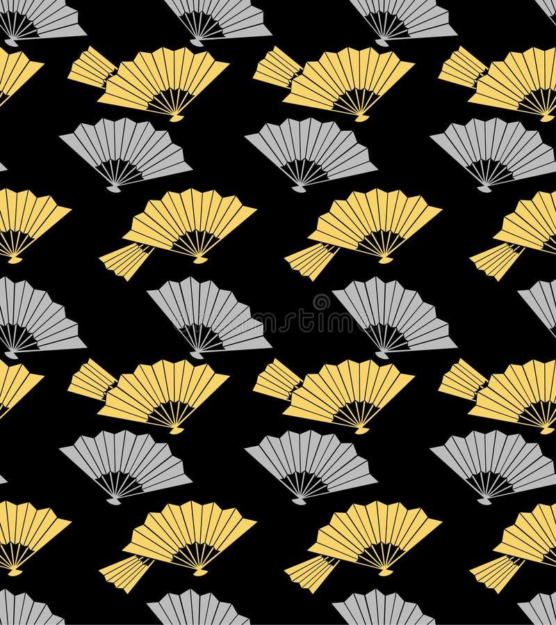 Ouro japonês e fã de dobramento de prata Art Seamless Pattern ilustração stock