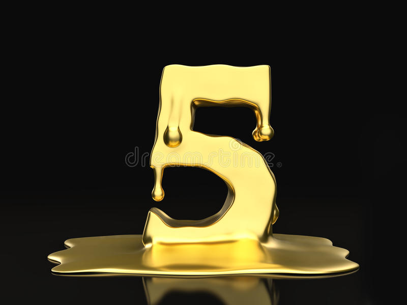 Ouro líquido número cinco ilustração do vetor