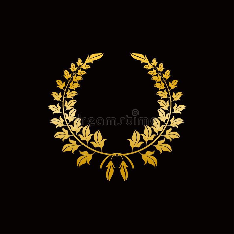 Ouro Laurel Wreath Símbolo da vitória e da realização Projete o elemento para a decoração da medalha, da concessão, da brasão ou  ilustração stock
