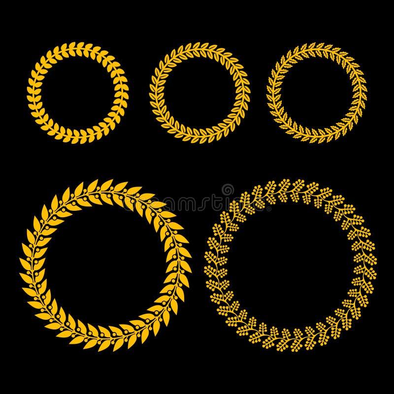 Ouro Laurel Wreath Set no fundo preto ilustração royalty free