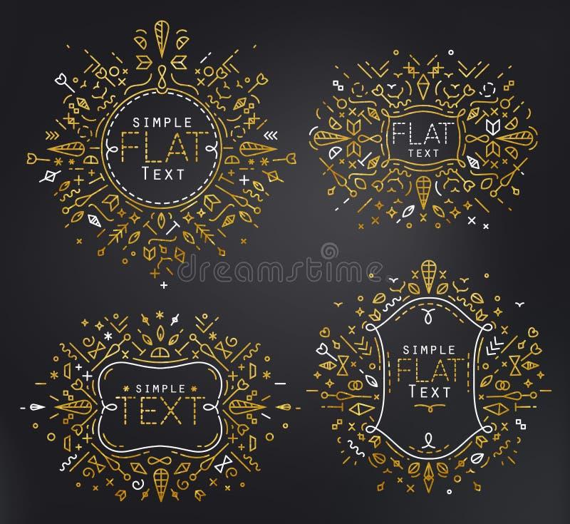 Ouro liso dos monogramas ilustração royalty free