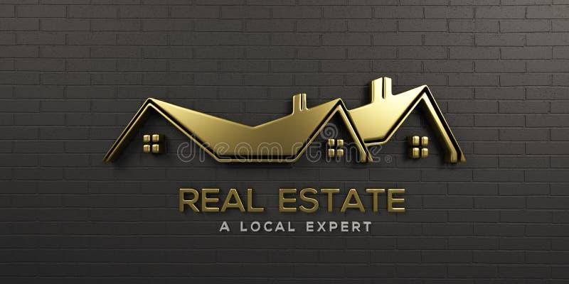 Ouro Logo Design de Real Estate ilustração da rendição 3d ilustração do vetor
