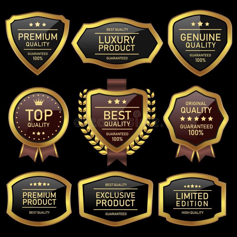 Ouro luxuoso da etiqueta da qualidade e lustroso preto ilustração stock