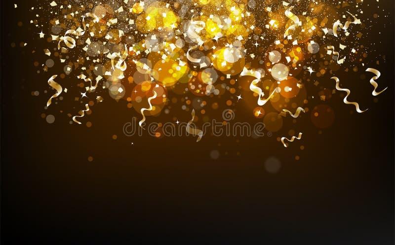 Ouro mágico Bokeh obscuro e estrelas que caem com confett das fitas ilustração stock