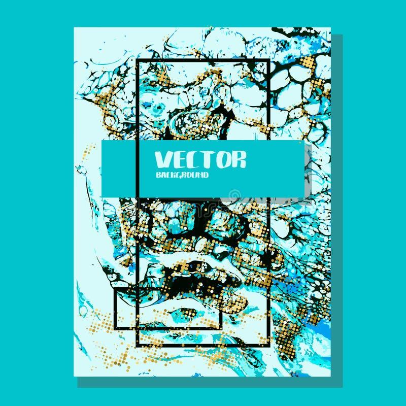 Ouro marmoreado e fundo abstrato azul Teste padrão de mármore líquido Textura do líquido do vetor Projeto do molde do negócio ilustração royalty free