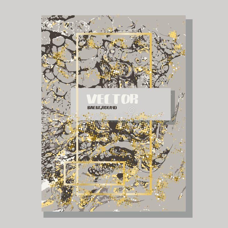 Ouro marmoreado e fundo abstrato bege Teste padrão de mármore líquido Textura do líquido do vetor Projeto do molde do negócio ilustração stock