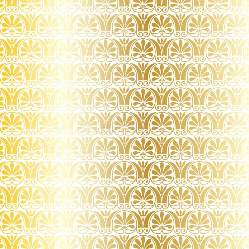 Ouro metálico e teste padrão decorativo grego branco do vetor ilustração royalty free