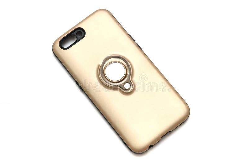 Ouro metálico uma tampa traseira pintada do smartphone imagem de stock