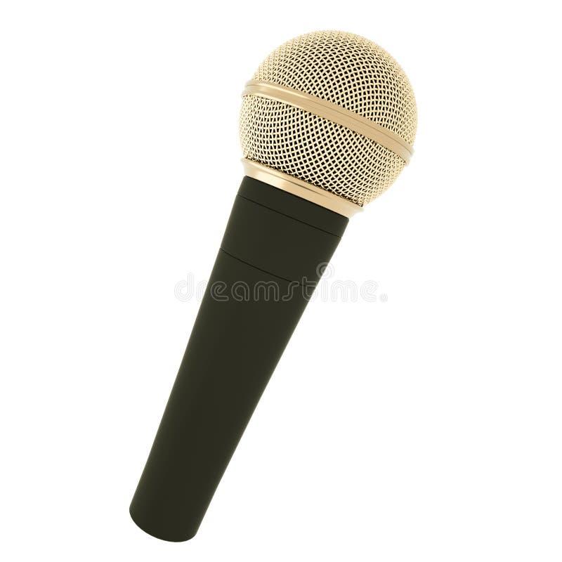 Ouro, microfone sem fio prestigioso isolado no fundo branco rendição 3d ilustração stock