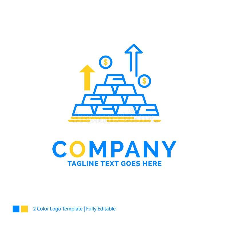 ouro, moeda, dinheiro, dinheiro, templa amarelo azul do logotipo do negócio do crescimento ilustração do vetor