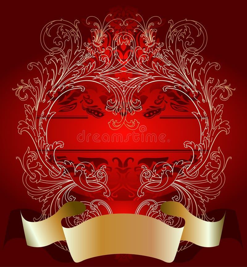 Ouro no fundo vermelho do cartão do dia do Valentim ilustração royalty free