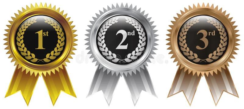 Ouro, prata, ícone de bronze da medalha do crachá do vencedor ilustração royalty free