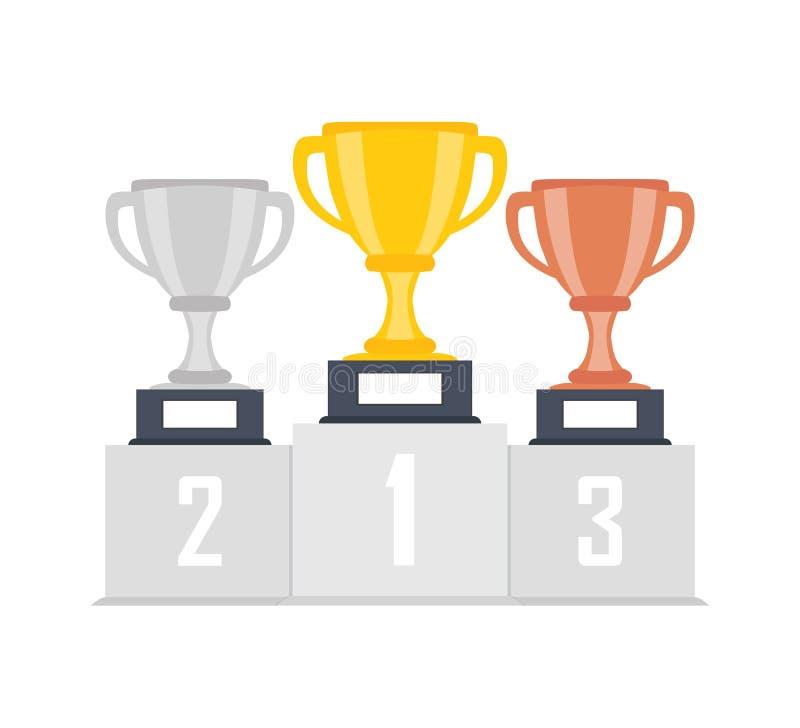 Ouro, prata, copo de bronze do troféu, cálice no pódio, suporte isolado no fundo ø, ò, ó lugar Entregando concessões ao vencedor ilustração do vetor