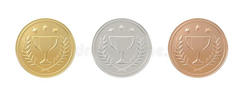 Ouro, prata, medalhas de bronze ajustadas ilustração do vetor