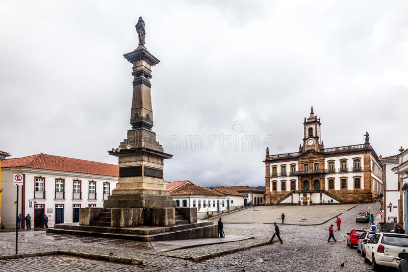 Ouro Preto, Brazil. December 1, 2014: Street scene The centre of The city with typical architecture ,UNESCO world heritage city center of Ouro Preto in Brazil stock photography
