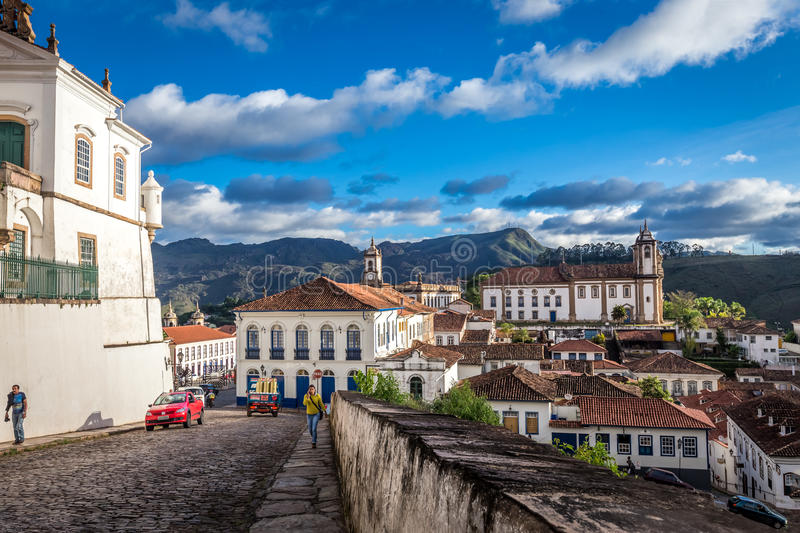 Ouro Preto, Brazil. December 2, 2014: Street scene The centre of The city with typical architecture ,UNESCO world heritage city center of Ouro Preto in Brazil stock photography