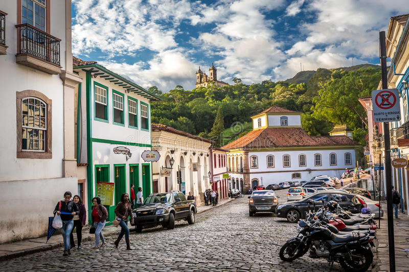 Ouro Preto, Brazil. December 2, 2014: Street scene The centre of The city with typical architecture ,UNESCO world heritage city center of Ouro Preto in Brazil stock images