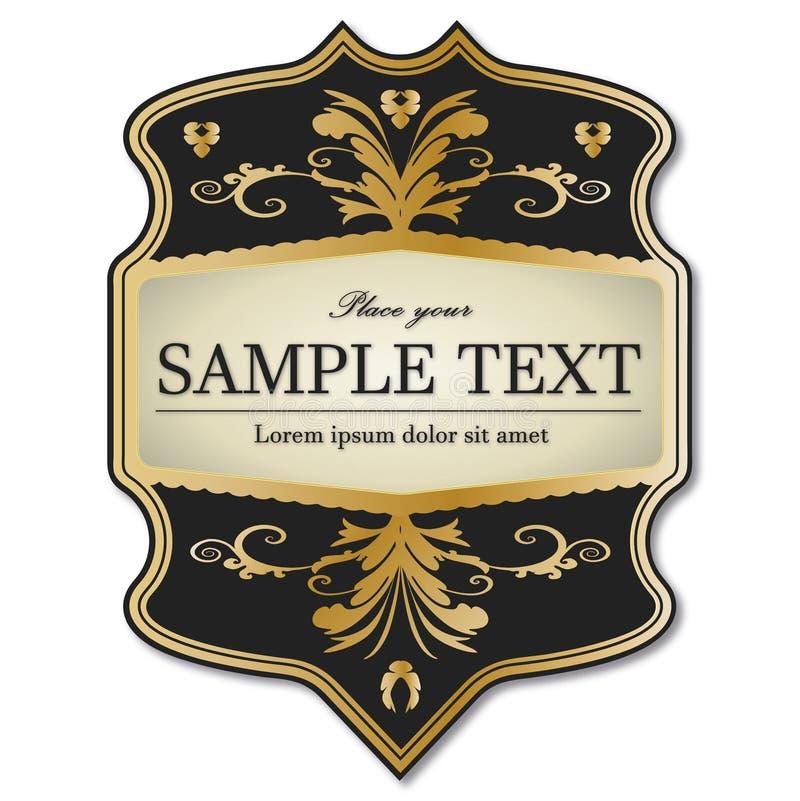 Ouro preto etiqueta quadro ilustração stock