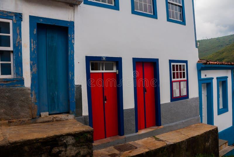 Ouro Preto, Minas Gerais, Brazil: Beautiful colonial architecture houses in the old town. Outro Preto royalty free stock photos