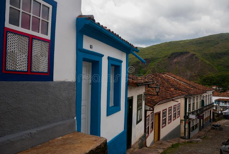 Ouro Preto, Minas Gerais, Brazil: Beautiful colonial architecture houses in the old town. Outro Preto royalty free stock photography