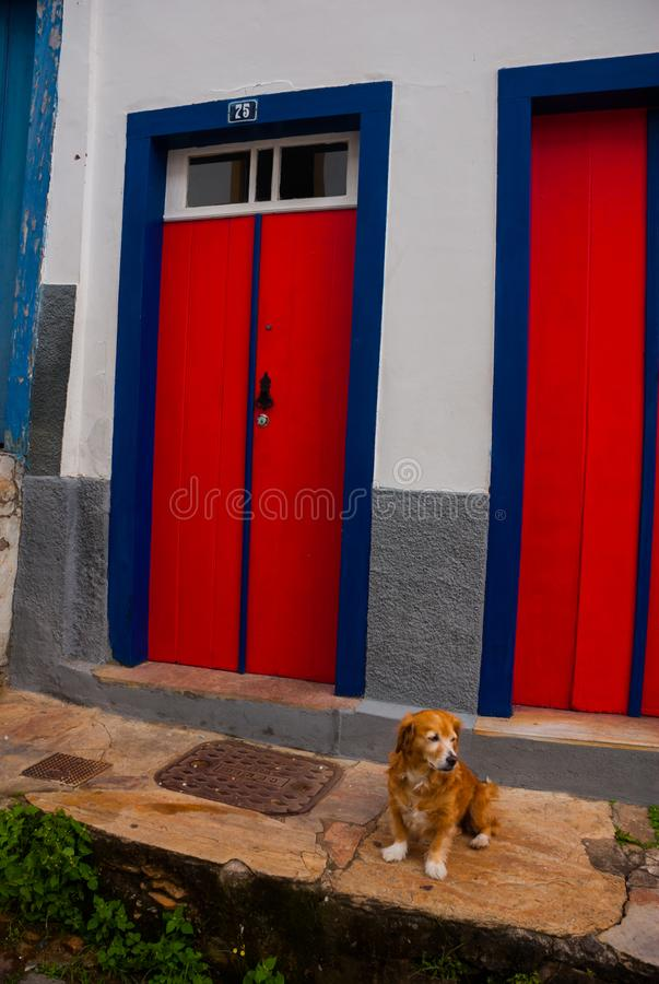Ouro Preto, Minas Gerais, Brazil: Beautiful colonial architecture houses in the old town. Outro Preto stock images