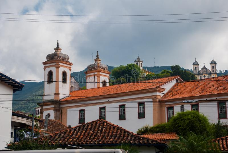 Ouro Preto, Minas Gerais, Brazil: Beautiful landscape with views of colonial architecture houses and Catholic Church in the old. Town Outro Preto royalty free stock photography