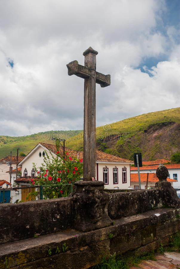 Ouro Preto, Minas Gerais, Brazil: Beautiful landscape with views of colonial architecture houses and Catholic Church in the old. Town Outro Preto royalty free stock image