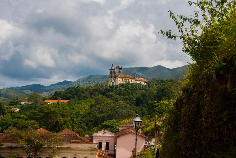 Ouro Preto, Minas Gerais, Brazil: Beautiful landscape with views of colonial architecture houses and Catholic Church in the old. Town Outro Preto stock photos
