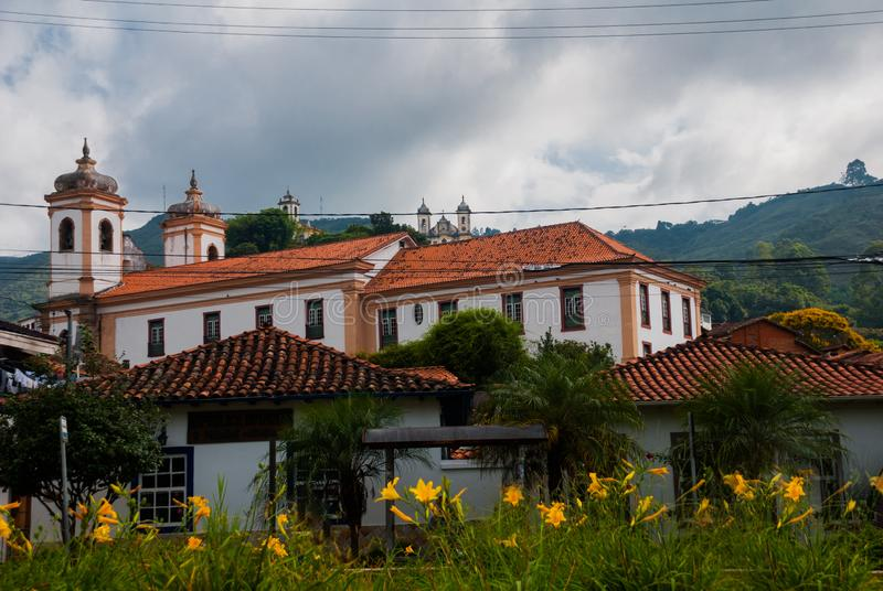 Ouro Preto, Minas Gerais, Brazil: Beautiful landscape with views of colonial architecture houses and Catholic Church in the old. Town Outro Preto stock images