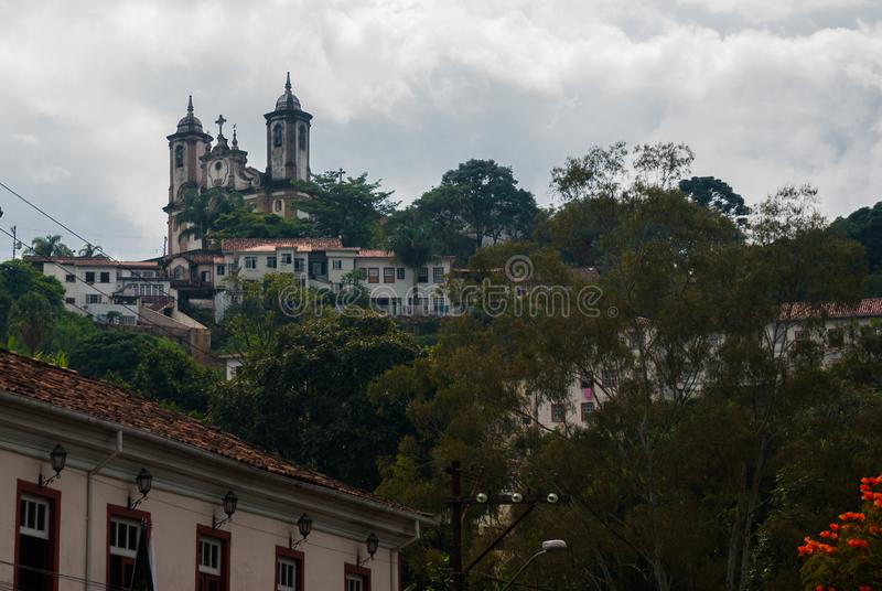 Ouro Preto, Minas Gerais, Brazil: Beautiful landscape with views of colonial architecture houses and Catholic Church in the old. Town Outro Preto royalty free stock photo