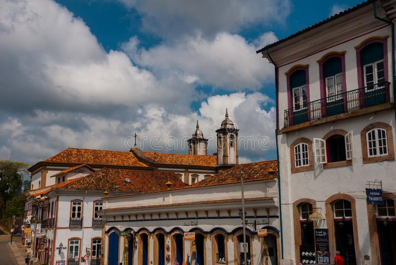 Ouro Preto, Minas Gerais, Brazil: Beautiful landscape with views of colonial architecture houses and Catholic Church in the old. Town Outro Preto royalty free stock images