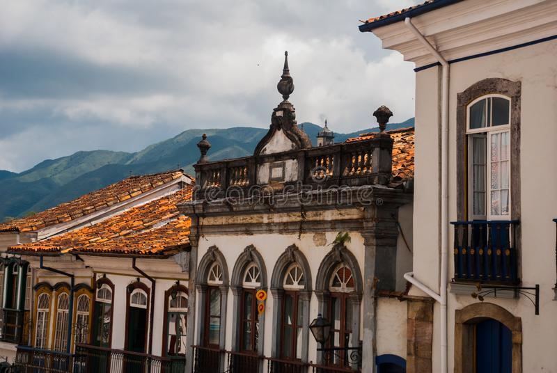 Ouro Preto, Minas Gerais, Brazil: Old colonial houses in the center of the old town. UNESCO world heritage. Ouro Preto, Minas Gerais, Brazil: Beautiful Old stock photos