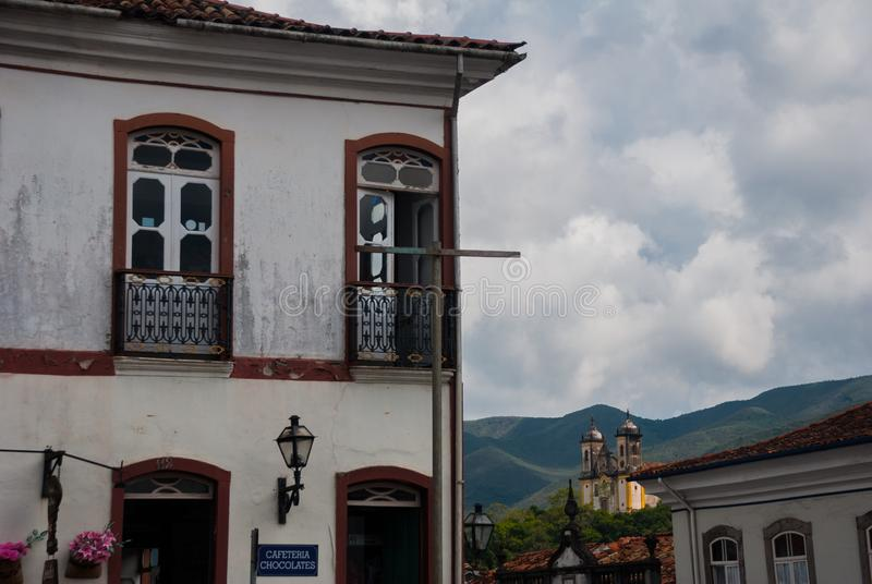 Ouro Preto, Minas Gerais, Brazil: Old colonial houses in the center of the old town. UNESCO world heritage. Ouro Preto, Minas Gerais, Brazil: Beautiful Old royalty free stock photo