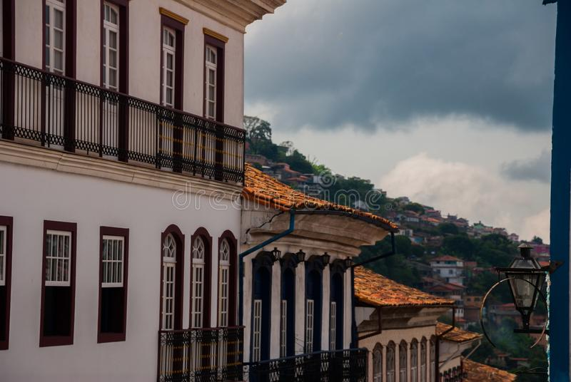 Ouro Preto, Minas Gerais, Brazil: Old colonial houses in the center of the old town. UNESCO world heritage. Ouro Preto, Minas Gerais, Brazil: Beautiful Old royalty free stock photos