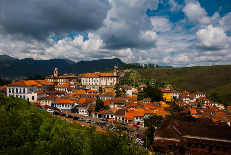 Ouro Preto, Minas Gerais, Brazil: Old colonial houses in the center of the old town. UNESCO world heritage. Ouro Preto, Minas Gerais, Brazil: Beautiful Old royalty free stock photography