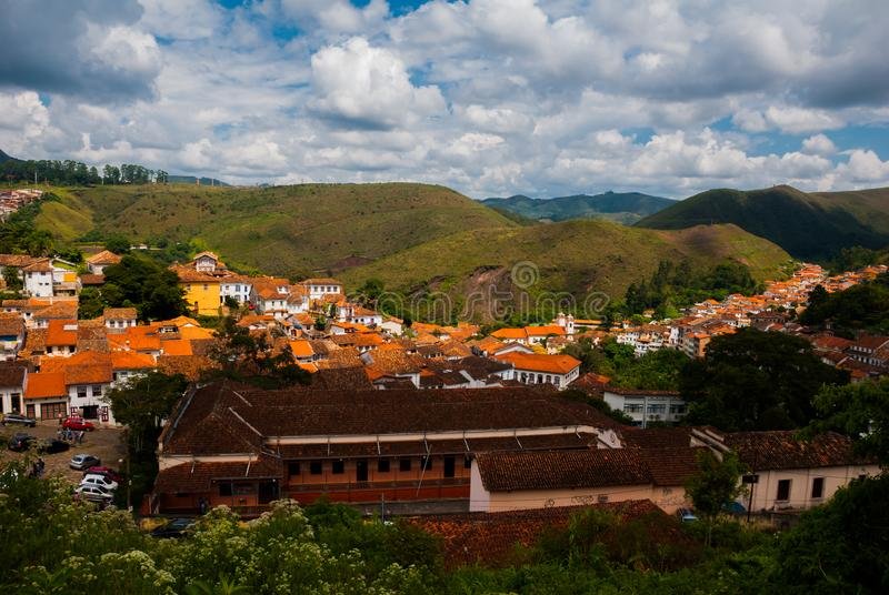 Ouro Preto, Minas Gerais, Brazil: Old colonial houses in the center of the old town. UNESCO world heritage. Ouro Preto, Minas Gerais, Brazil: Beautiful Old stock photography