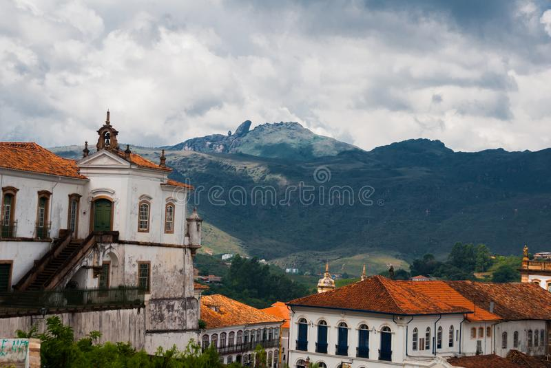Ouro Preto, Minas Gerais, Brazil: Old colonial houses in the center of the old town. UNESCO world heritage. Ouro Preto, Minas Gerais, Brazil: Beautiful Old stock images