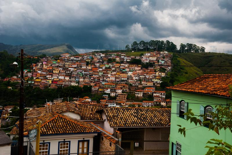 Ouro Preto, Minas Gerais, Brazil: Panoramas of the beautiful landscape overlooking the colonial architecture of the houses and the. Catholic Church in the old stock photography