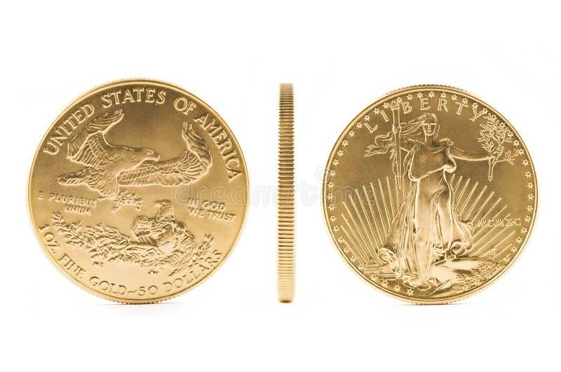 Ouro puro da moeda de ouro $50 americanos da águia 1 onça. imagem de stock