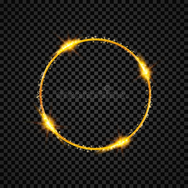Ouro que brilha em volta da bandeira Círculo dourado Efeitos das luzes Quadro do anel da faísca Ilustração do vetor ilustração stock