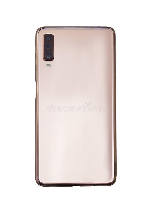Ouro realístico Smartphone com a tela transparente isolada imagens de stock royalty free