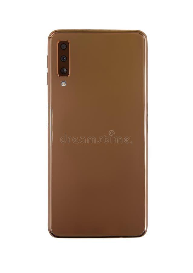 Ouro realístico Smartphone isolado para trás no fundo branco imagem de stock royalty free