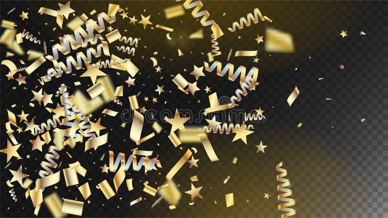 Ouro realístico Tinsel Confetti, Natal elegante fresco de voo da explosão da folha, ano novo, ouro Tinsel Confetti do feriado da  ilustração royalty free