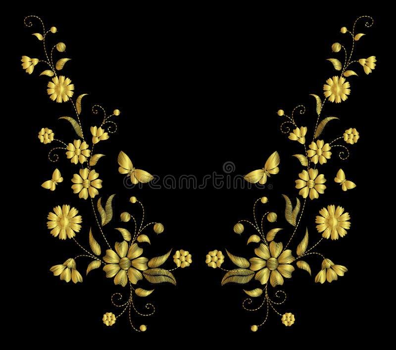 Ouro retro do vintage rústico do campo do ornamento da colar da flor do bordado ilustração do vetor